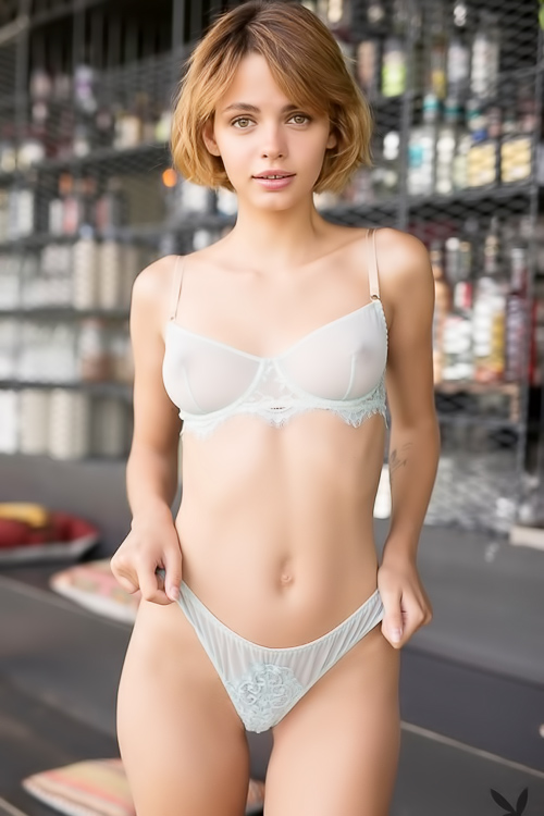 Blonde poses in transparent underwear