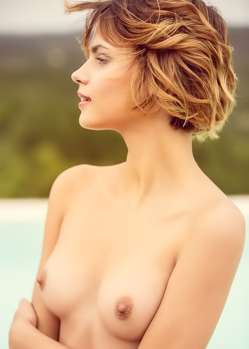 Short haired brunette outdoors