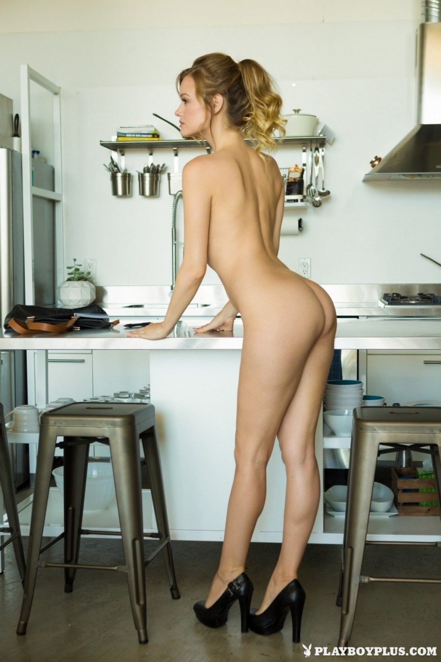 Blonde housewife on the table