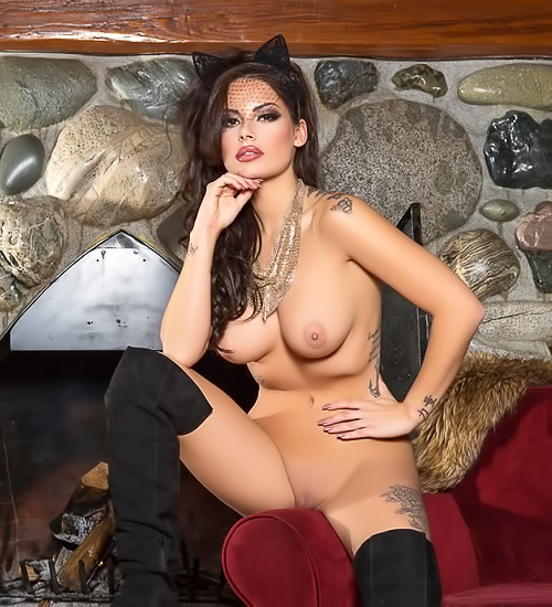 Cat babe in black boots