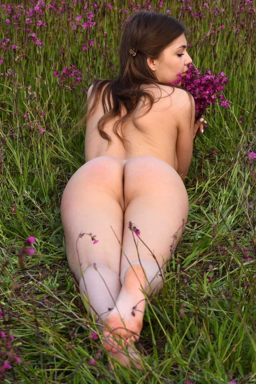 Cutie gets a lavender orgasm in field