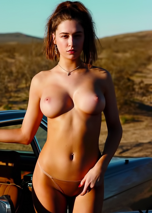 Brunette undresses on the road