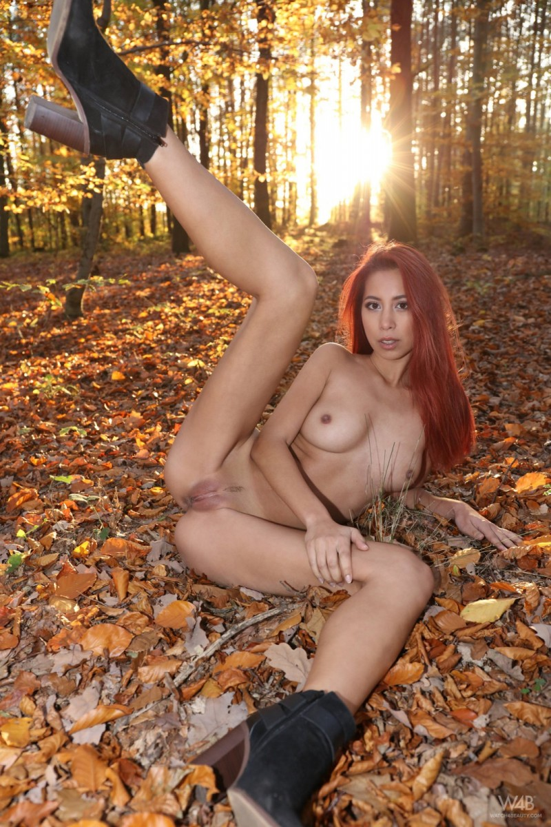 Fall leaves and her wet pussy