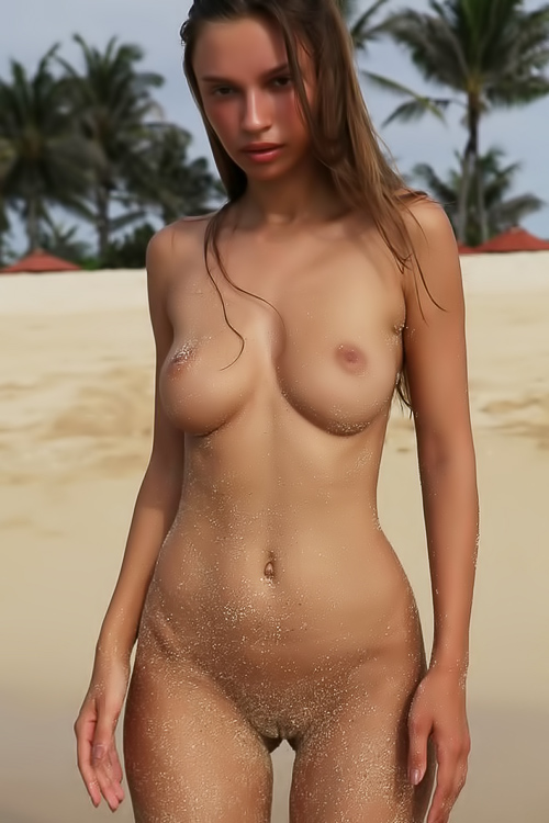 She loves sand on her pussy