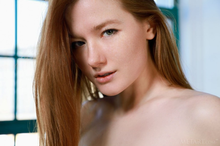 Redhead delicate beauty striping
