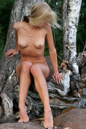 Slim hottie goes for a naked walk in the mountains