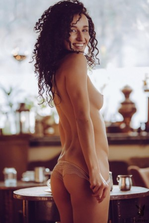 Chicks with beautiful bodies and curly hair pose naked