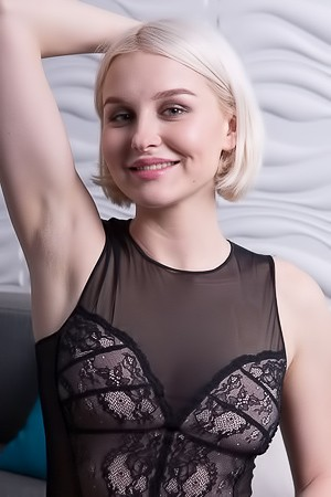 Blonde Kery In Sexy Black Lingerie And Without