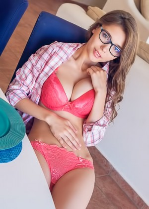 Nerdy looking barely legal blonde takes of her pink bra