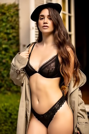 Playboy Babe Rose Posing And Stripping Sexy Black Lingerie