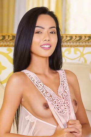 Asian Babe Magen Stripping Pink Dress